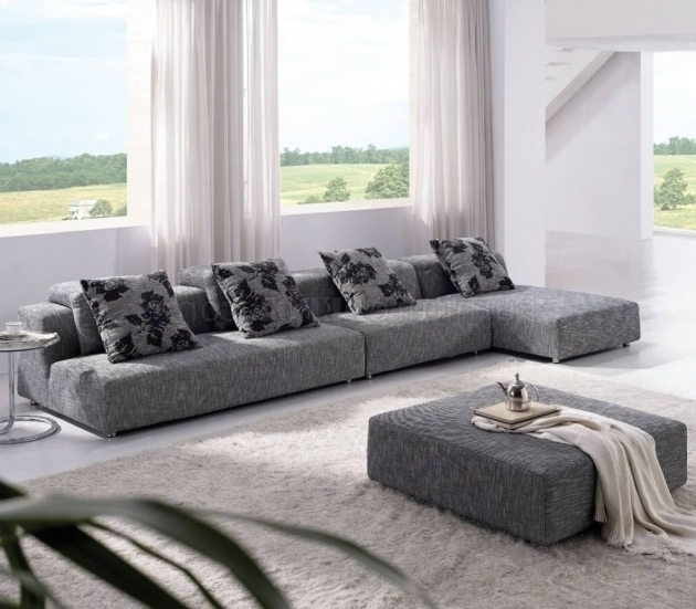 Grey Fabric Sectional Sofas With Chaise With White Curtains Also Round Mini Table Design Images 67