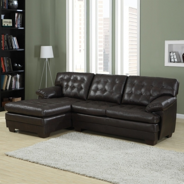 Metalic Dark Grey Leather Couch With Chaise Sectional Sofa Images 11