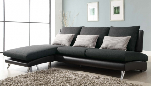 Mixed Dark Black Leather Couch With Chaise Sectional Sofa Modern Line Furniture Photos 43