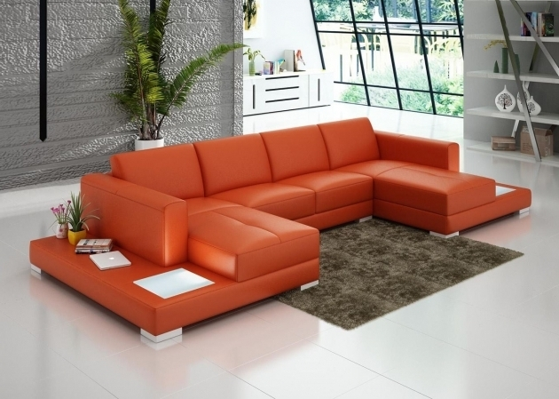 Modern U Shaped Orange Leather Double Chaise Lounge Sofa Images 44