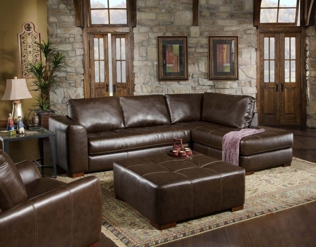Small Brown Leather Sectional With Chaise Photo 43