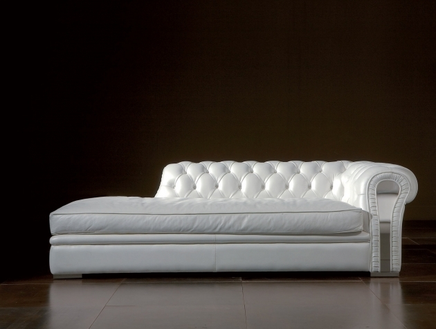 White Leather Chaise Lounge For Living Room Design Photos 88