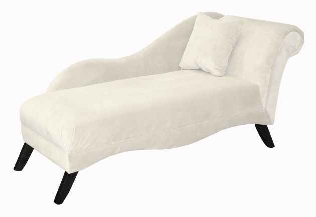 White Leather Chaise Lounge Furniture With Back And Single White Cushion Image 70