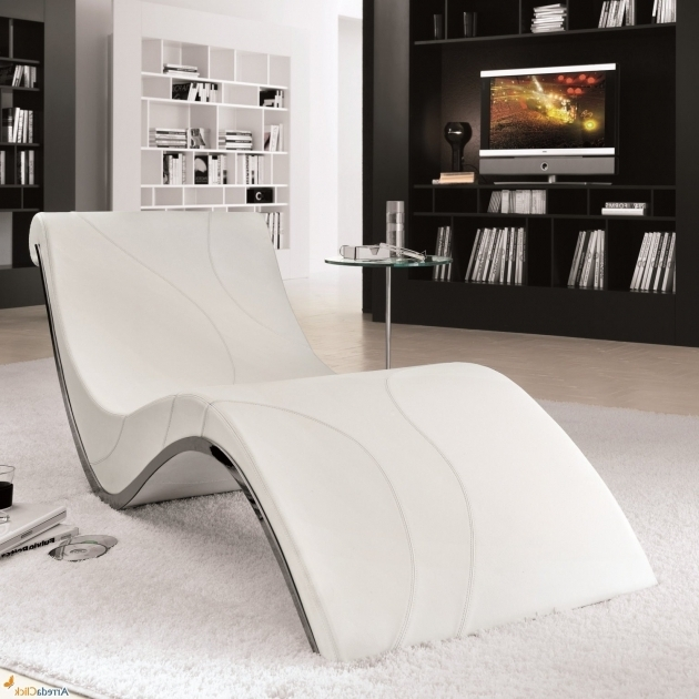 White Leather Chaise Lounge Library Room Plus Bookshelves Image 22