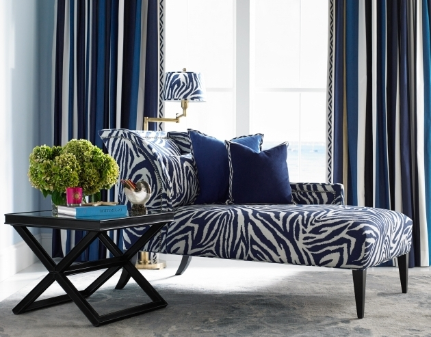 Zebra Chaise Lounge Accentuate Combined Dark Tapered Legs And Blue Throw Pillows Photo 07