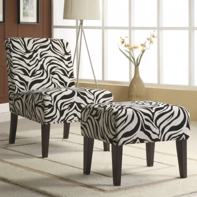 Zebra Chaise Lounge Chair And Ottoman Set Print Picture 36