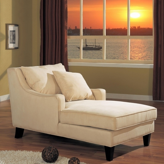 White Fabric Indoor Double Chaise Lounge With Armrest Connected By Backrest Having White Cushions Images 72