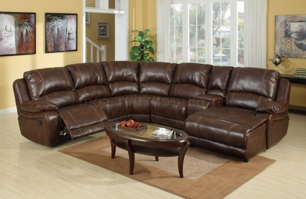 Wine Bonded Leather Modern Reclining Sofa With Chaise Photos 21